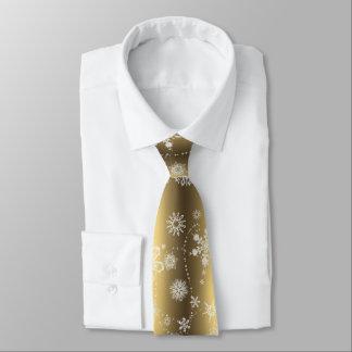 Copos de nieve en el oro corbatas personalizadas