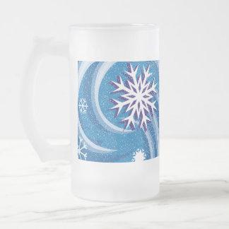Copos de nieve en el viento - jarra de cerveza esmerilada