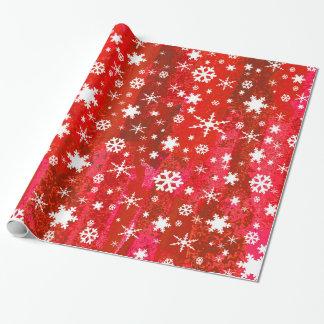 Copos de nieve en fondo rojo abstracto colorido papel de regalo