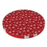 Copos de nieve en fondo rojo juego de fichas de póquer