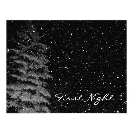copos de nieve en la fotografía única de la noche invitacion personal