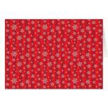 Copos de nieve en modelo rayado rojo intrépido tarjetas