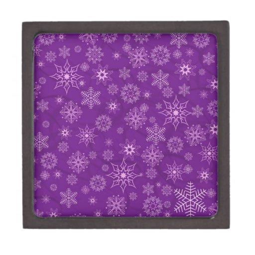 Copos de nieve en púrpura caja de recuerdo de calidad