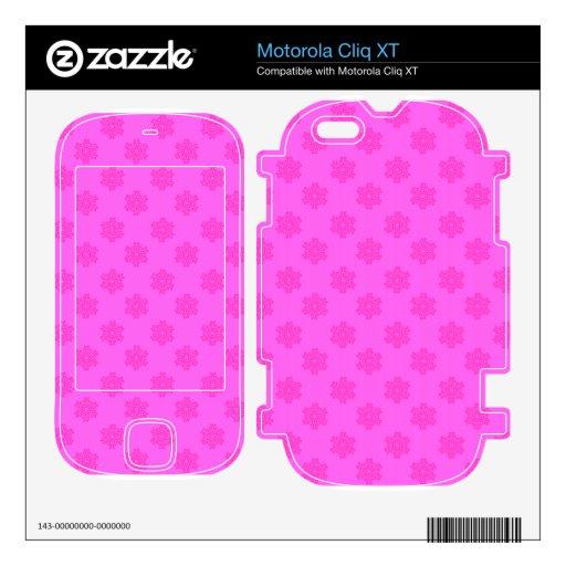 Copos de nieve en rosa motorola cliq XT skin