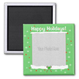Copos de nieve felices verdes del día de fiesta (m imán cuadrado