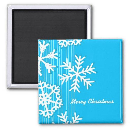 Copos de nieve femeninos del navidad azul y blanco imanes para frigoríficos