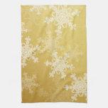 Copos de nieve femeninos del navidad de oro y blan toalla de cocina