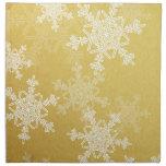 Copos de nieve femeninos del navidad de oro y blan servilleta imprimida