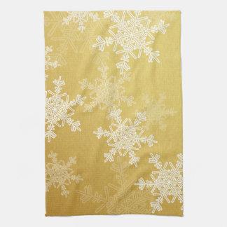 Copos de nieve femeninos del navidad de oro y blan toallas de cocina