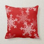 Copos de nieve femeninos del navidad rojo y blanco cojines