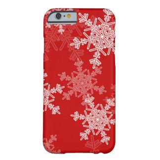 Copos de nieve femeninos del navidad rojo y blanco funda de iPhone 6 barely there