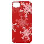 Copos de nieve femeninos del navidad rojo y blanco iPhone 5 Case-Mate protectores