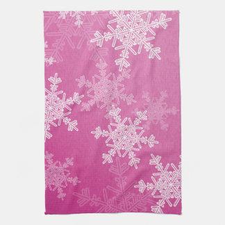 Copos de nieve femeninos del navidad rosado y blan toalla
