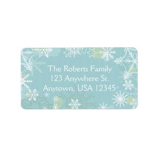 Copos de nieve festivos etiquetas de dirección