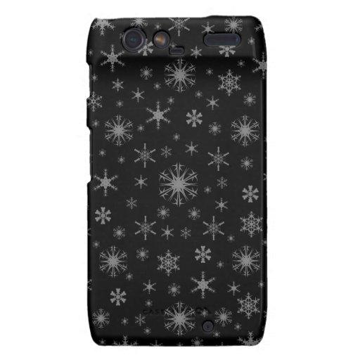 Copos de nieve - gris en negro droid RAZR carcasas