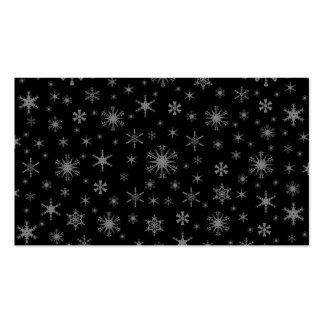 Copos de nieve - gris en negro plantilla de tarjeta de negocio