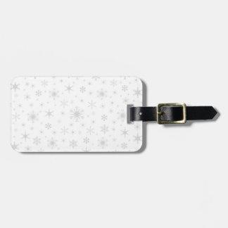 Copos de nieve - grises claros en blanco etiqueta para maleta