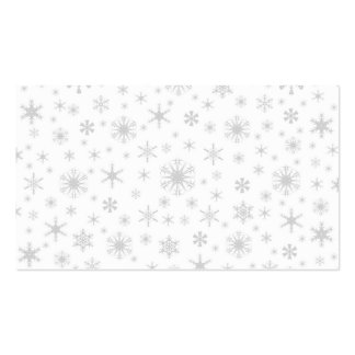 Copos de nieve - grises claros en blanco tarjetas de visita