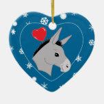 Copos de nieve lindos del amor del burro ornamentos para reyes magos