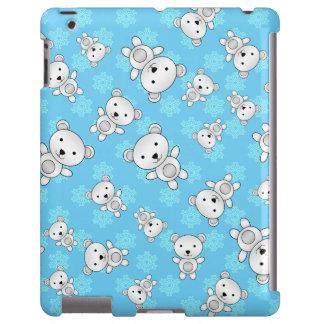 Copos de nieve lindos del azul de los osos polares funda para iPad
