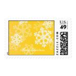 Copos de nieve lindos del navidad amarillo y blanc