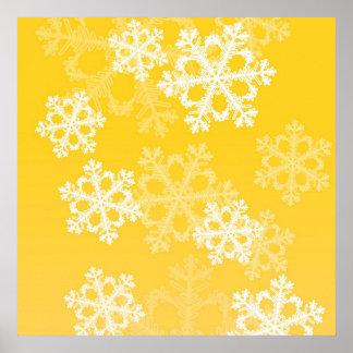 Copos de nieve lindos del navidad amarillo y blanc poster