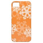 Copos de nieve lindos del navidad anaranjado y bla iPhone 5 Case-Mate carcasa