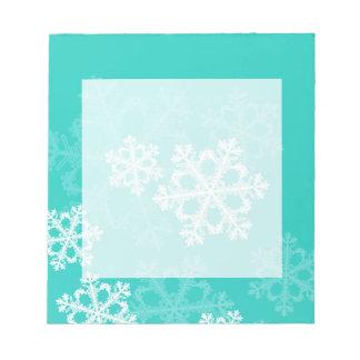 Copos de nieve lindos del navidad blanco de la tur blocs de papel