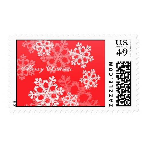 Copos de nieve lindos del navidad rojo y blanco