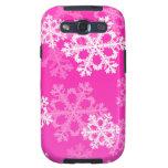 Copos de nieve lindos del navidad rosado y blanco galaxy s3 fundas