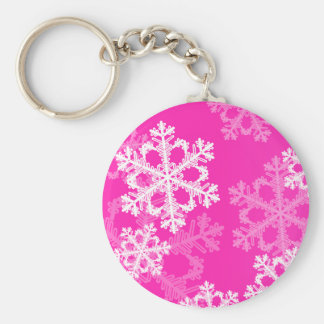 Copos de nieve lindos del navidad rosado y blanco llavero redondo tipo pin