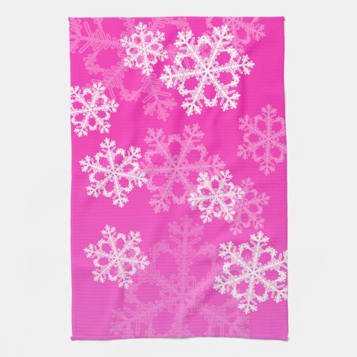 Copos de nieve lindos del navidad rosado y blanco toalla de cocina