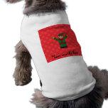 Copos de nieve lindos del rojo del duende camiseta de mascota