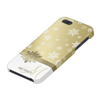 Copos de nieve marrones y blancos de Champán elega iPhone 5 Carcasas