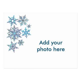 Copos de nieve, mirada bordada postales