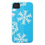 Copos de nieve modernos del blanco del navidad iPhone 4 funda