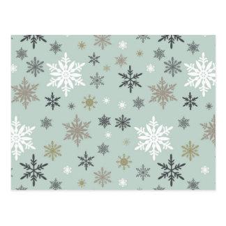 copos de nieve modernos del invierno del vintage tarjeta postal