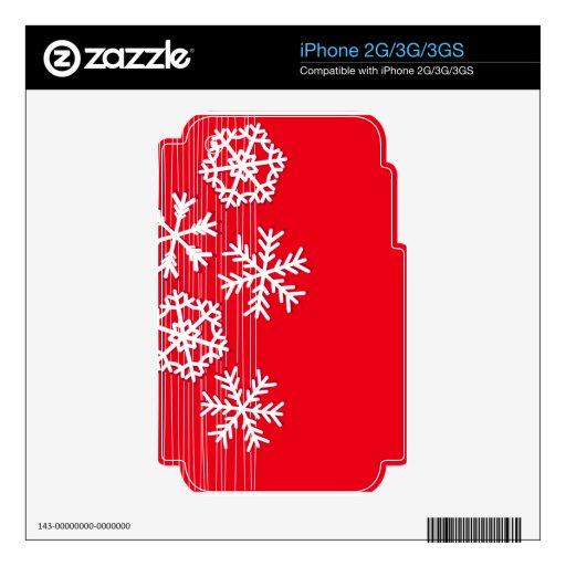 Copos de nieve modernos del navidad rojo y blanco calcomanía para el iPhone 2G