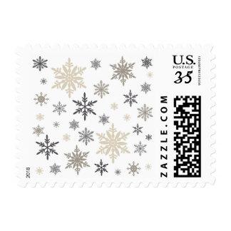 copos de nieve modernos del vintage timbres postales