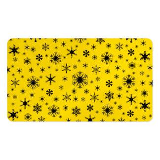 Copos de nieve - negro en amarillo de oro tarjetas de visita