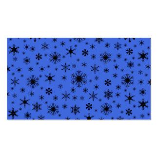 Copos de nieve - negro en azul real tarjeta personal