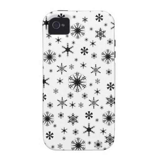 Copos de nieve - negro en blanco iPhone 4/4S carcasas
