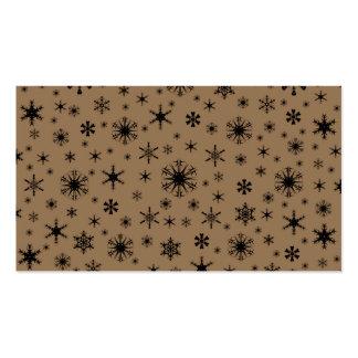 Copos de nieve - negro en Brown pálido Plantillas De Tarjeta De Negocio