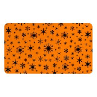 Copos de nieve - negro en el naranja tarjeta de visita
