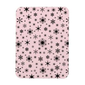 Copos de nieve - negro en pálido - rosa imanes de vinilo
