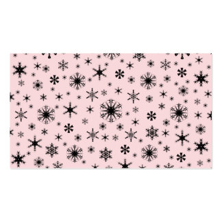 Copos de nieve - negro en pálido - rosa plantilla de tarjeta de visita