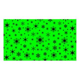 Copos de nieve - negro en verde eléctrico plantillas de tarjeta de negocio