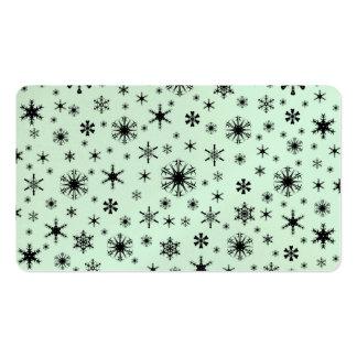 Copos de nieve - negro en verde en colores pastel tarjetas de visita