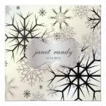 Copos de nieve, negro, invitaciones del boda del invitación 13,3 cm x 13,3cm