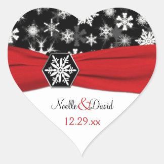 Copos de nieve negros, blancos, rojos que casan al pegatina de corazón personalizadas